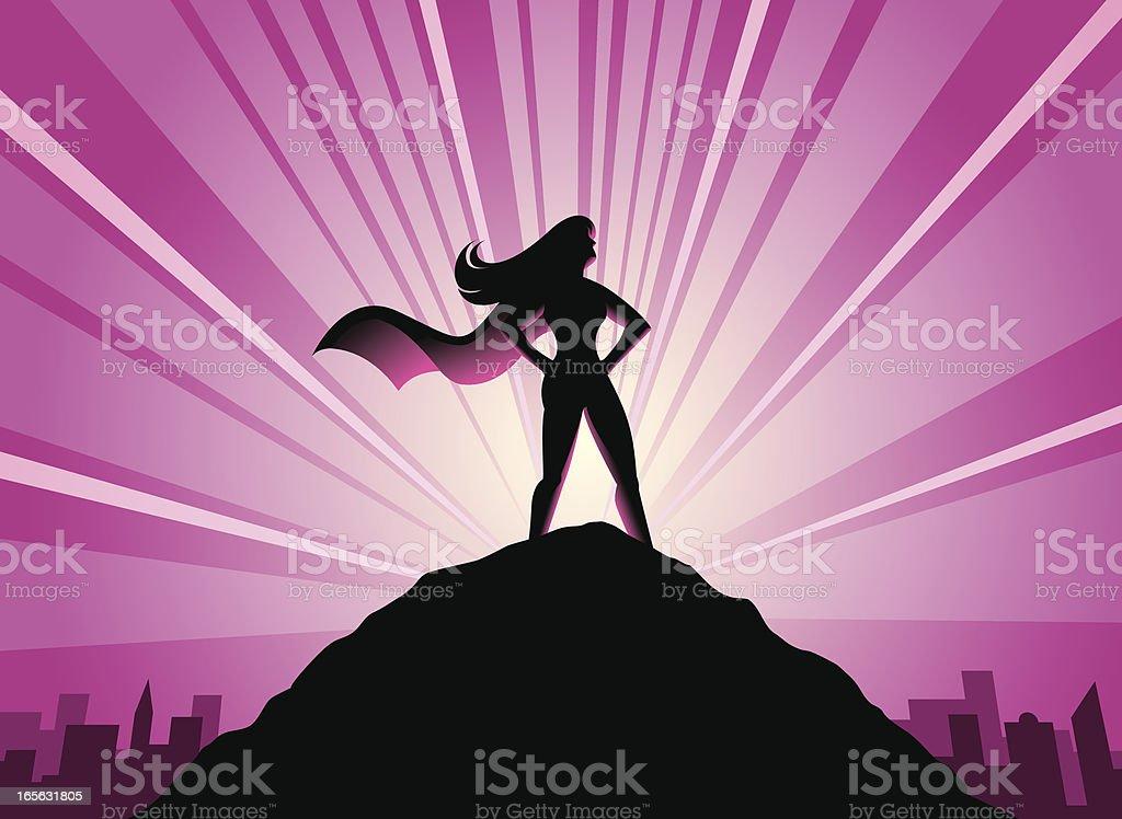 Super Hero - Female vector art illustration