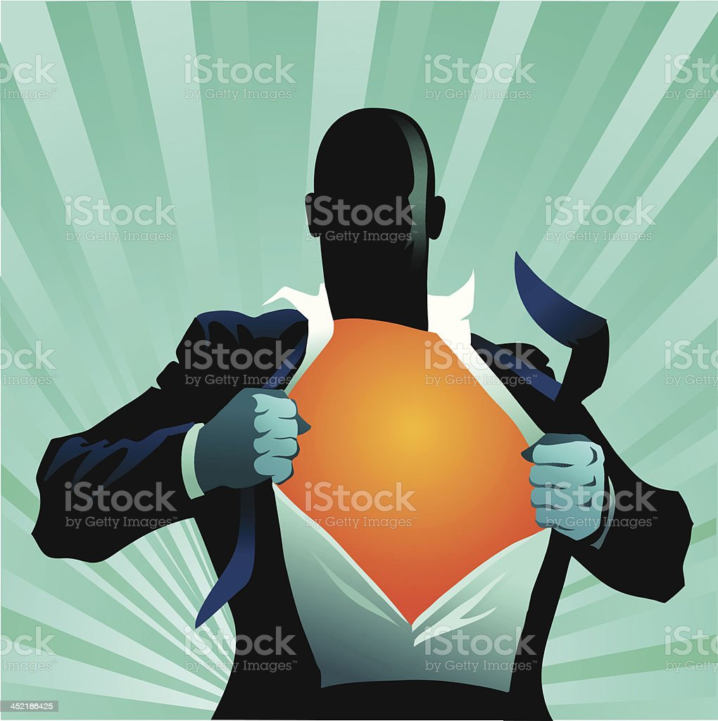 Super Hero Getting Ready for Action vector art illustration