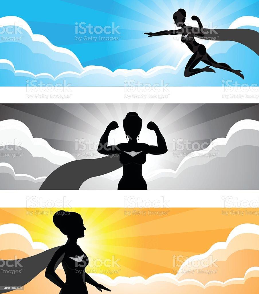 Super Hero Girl Silhouette Banner vector art illustration