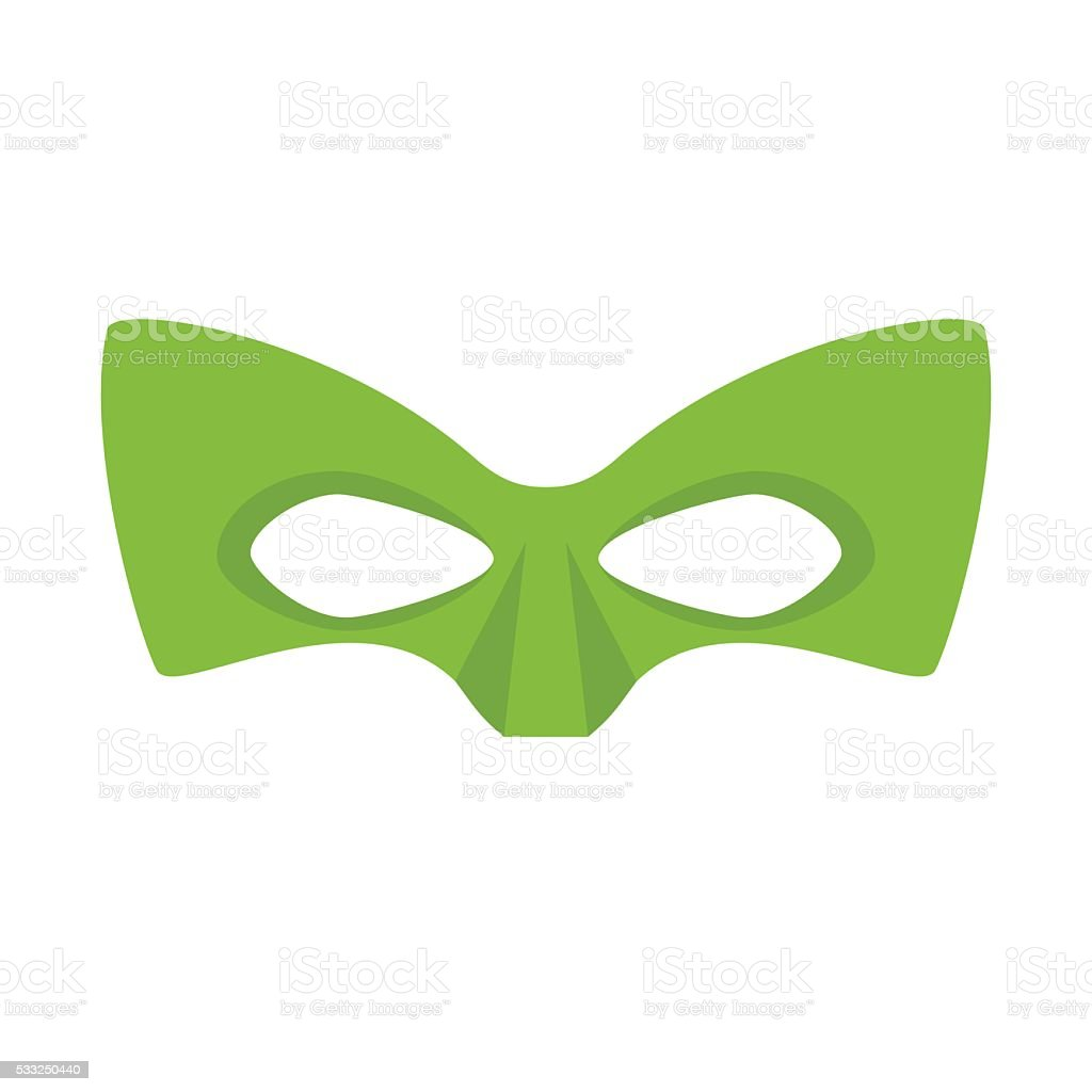Super hero green mask vector art illustration
