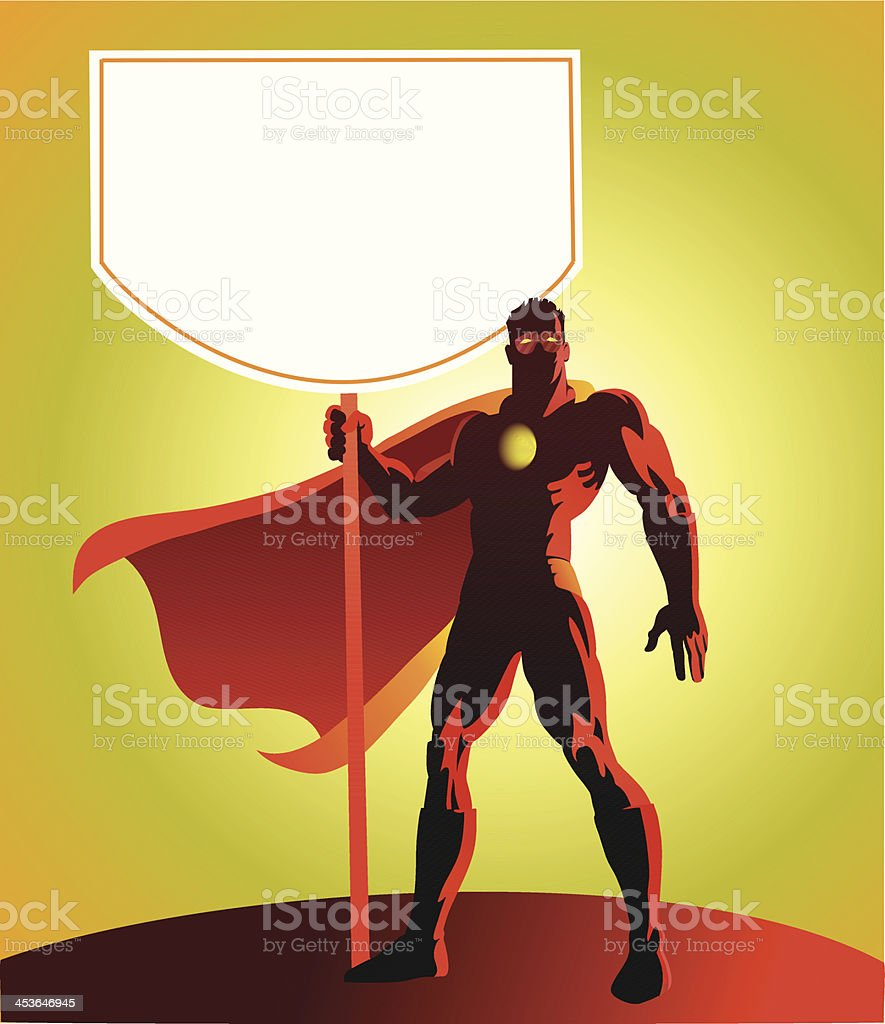 Super Hero Holding Up a Sign Board royalty-free stock vector art