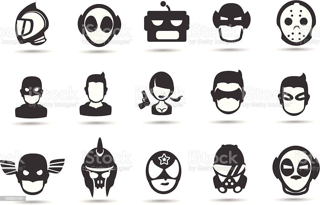 Super Hero Mask Icons vector art illustration