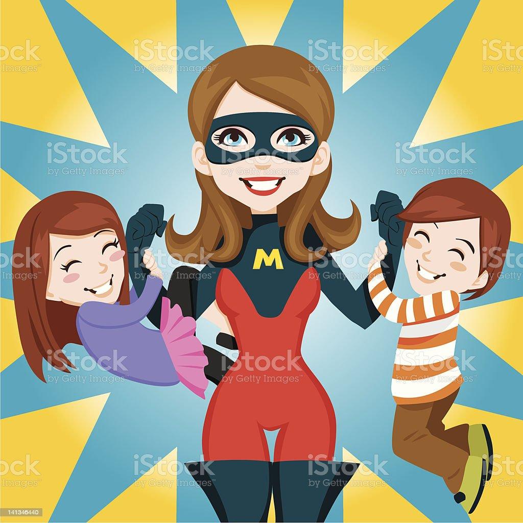 Super Hero Mom royalty-free stock vector art