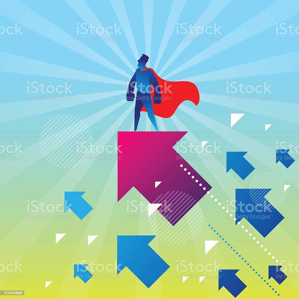 Super hero on the top vector art illustration