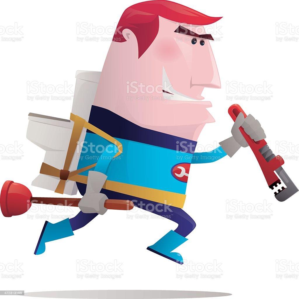 super hero plumber vector art illustration