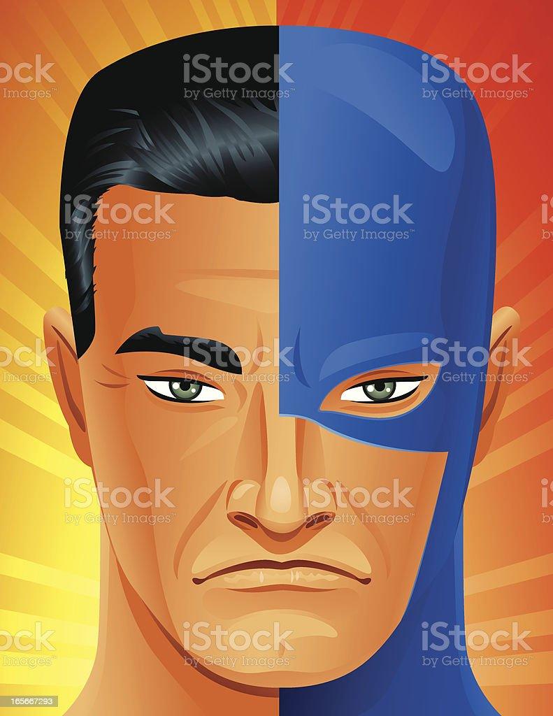 Super Hero Under the Mask vector art illustration