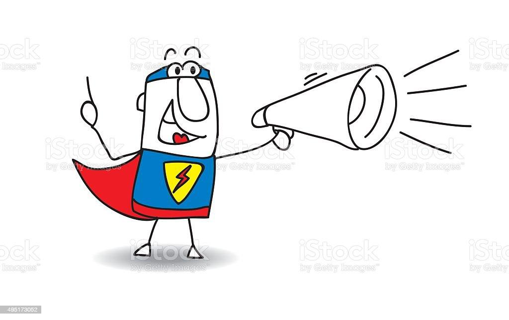 Super Hero with megaphone vector art illustration