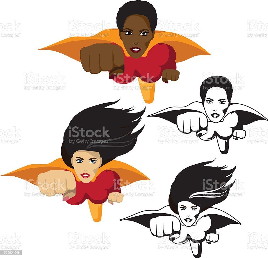 Super hero woman collection vector art illustration