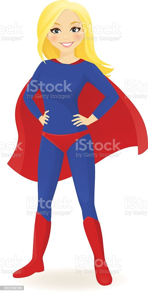 Super hero woman vector art illustration