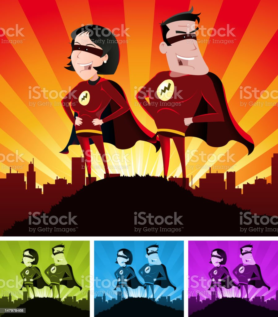 Super Heroes Male And Female royalty-free stock vector art
