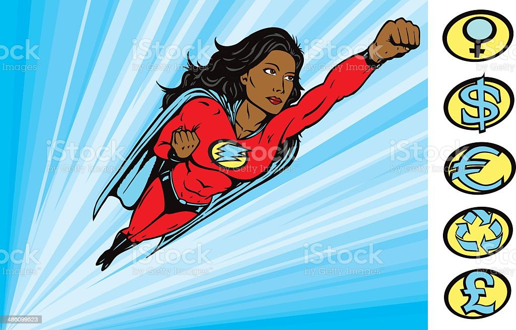 Super Heroine to the rescue vector art illustration