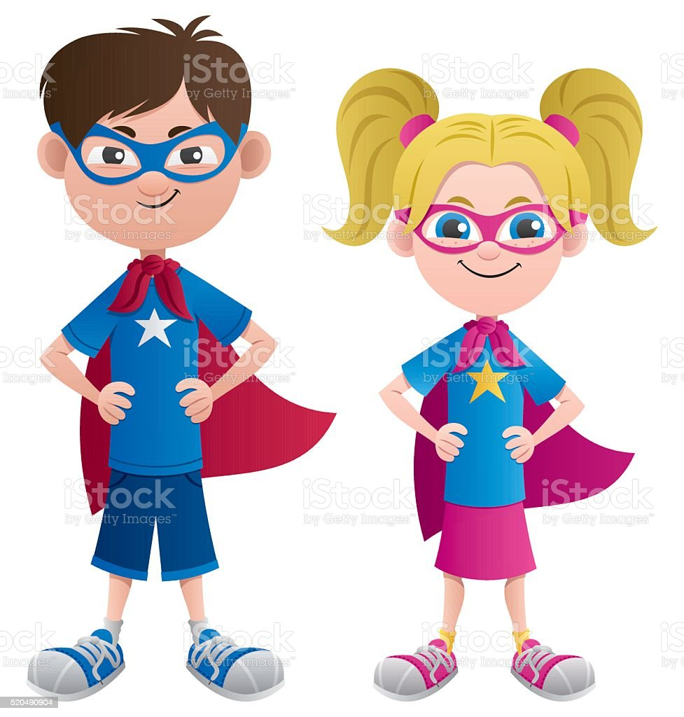 Super Kids vector art illustration