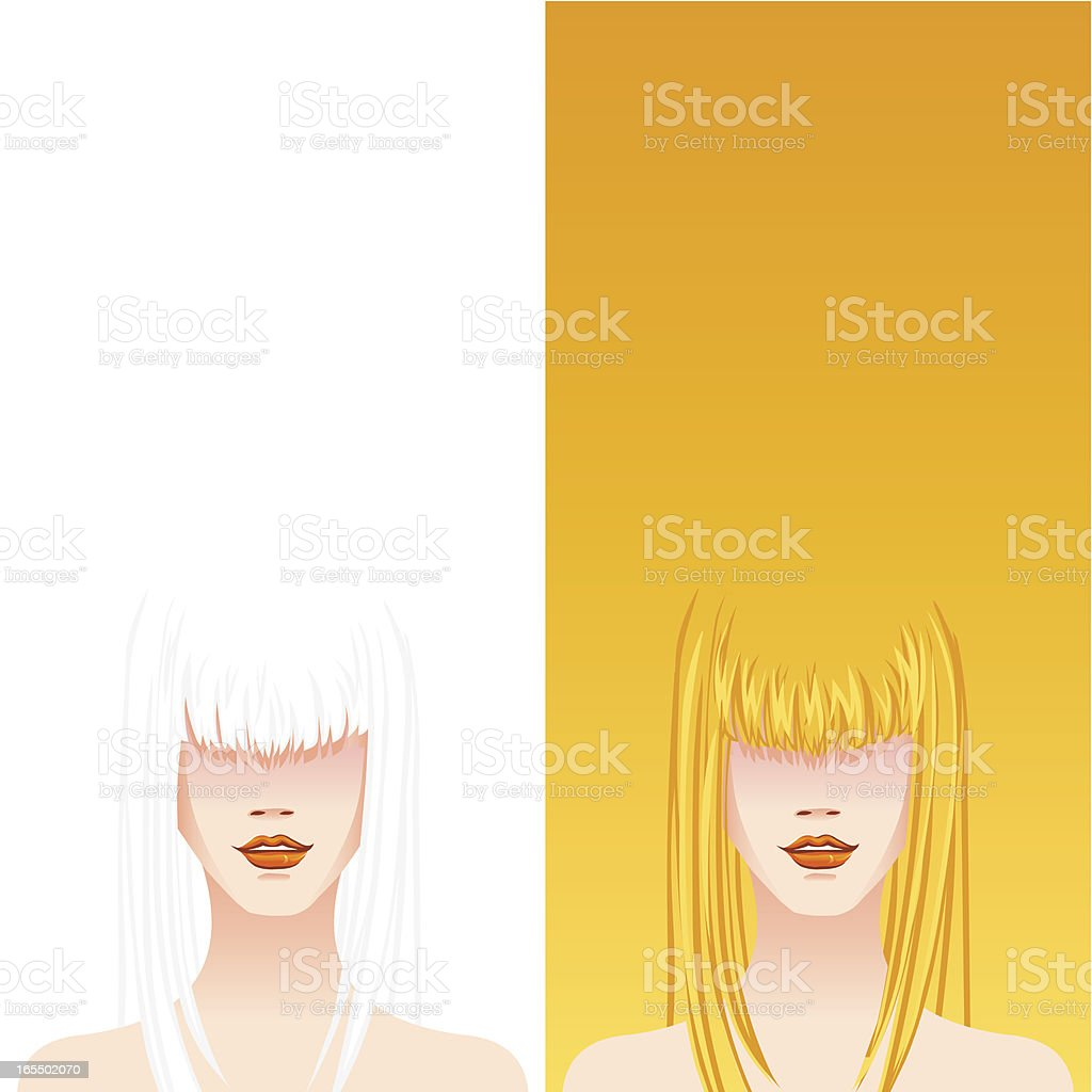 super models with copy space (Long Hair) royalty-free stock vector art