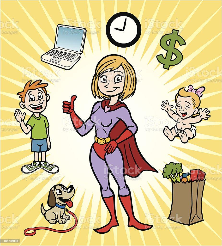 Super Mom royalty-free stock vector art