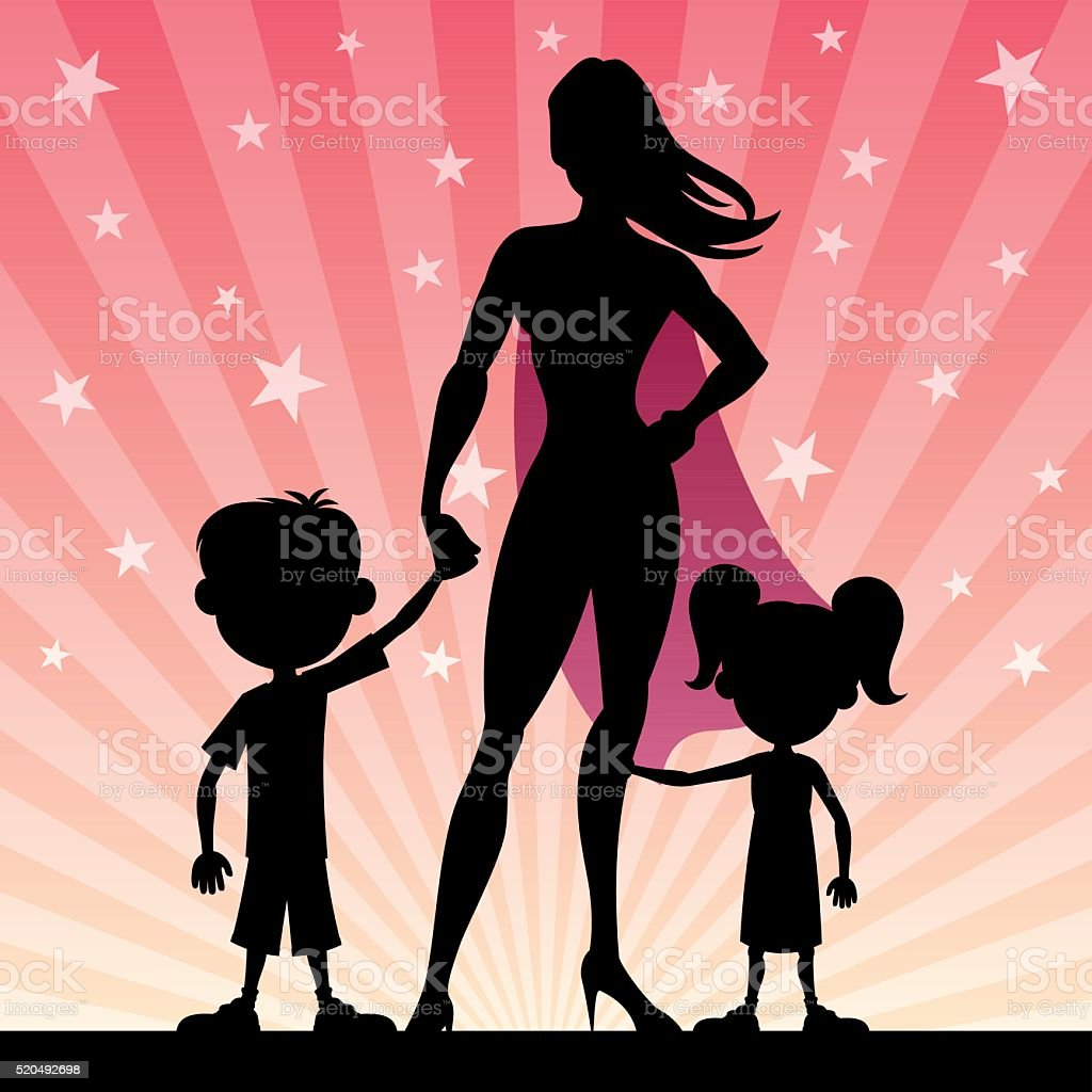 Super Mom vector art illustration