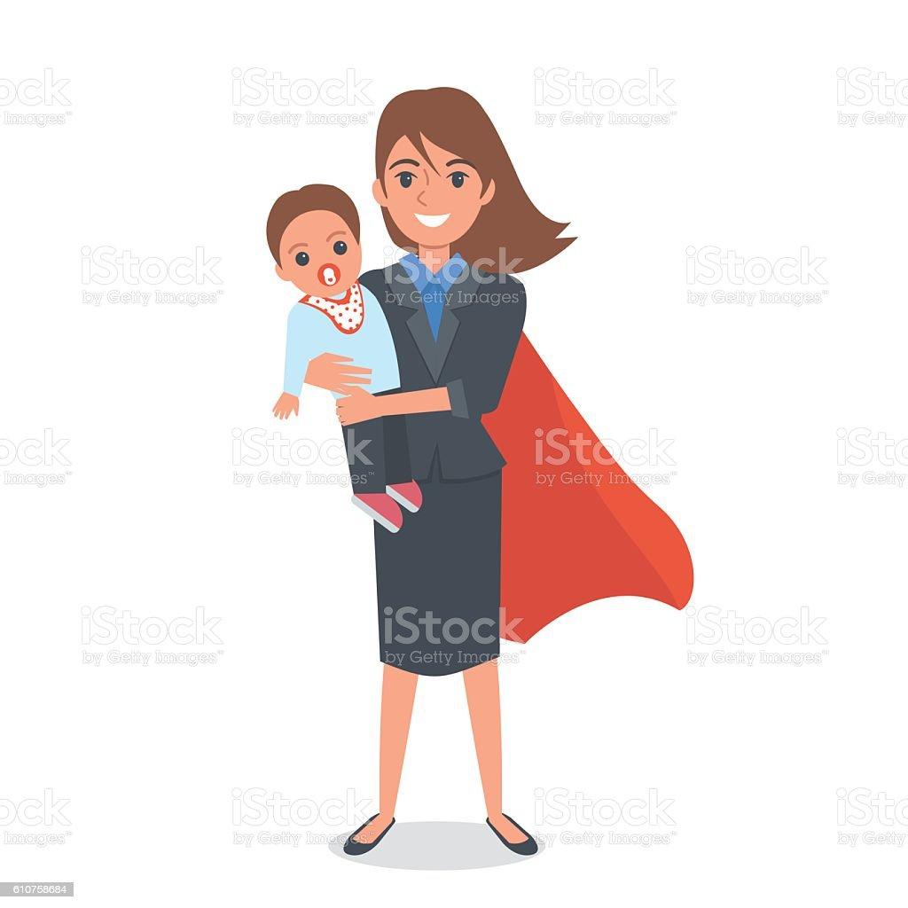 Super mom vector art illustration