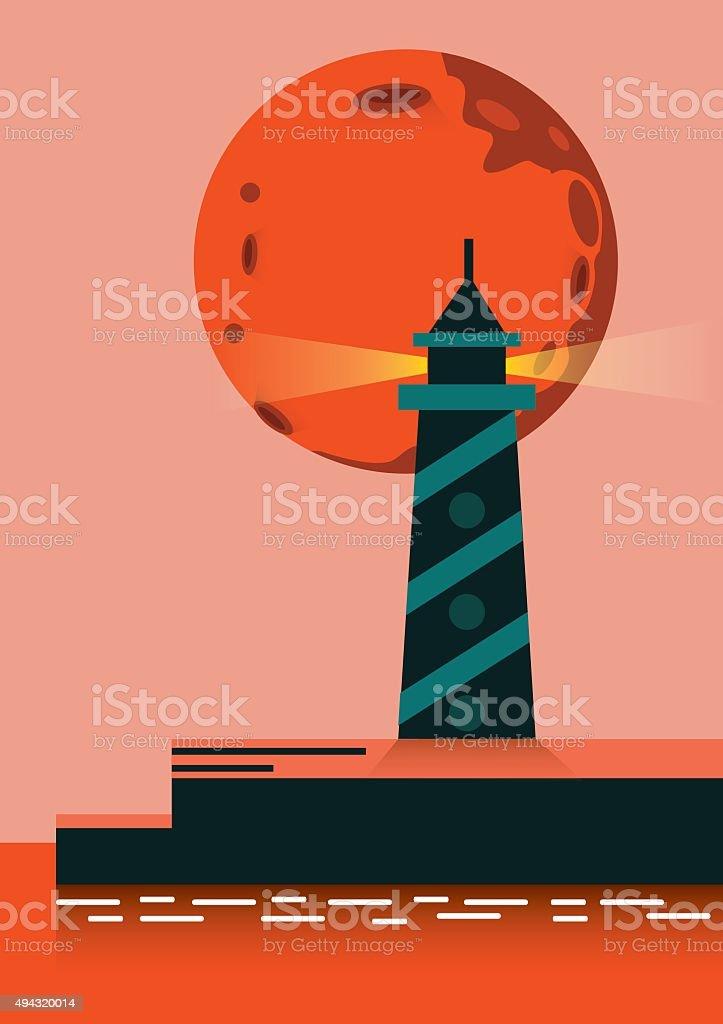 Super moon rising over lighthouse. vector art illustration