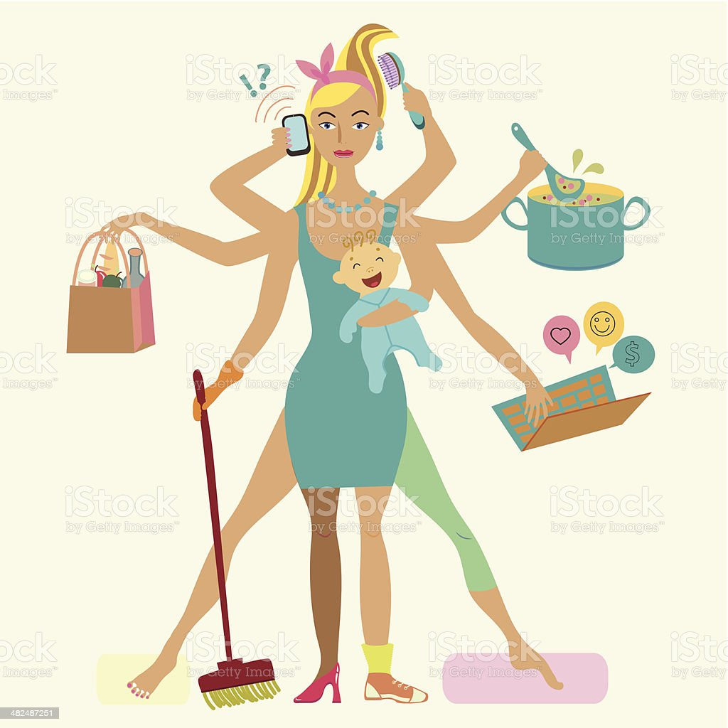 Super mother with newborn baby - cleaning, shopping, talking by royalty-free stock vector art
