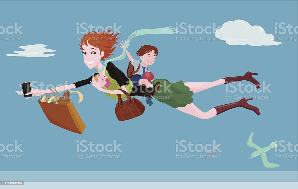 Super mum with kids vector art illustration