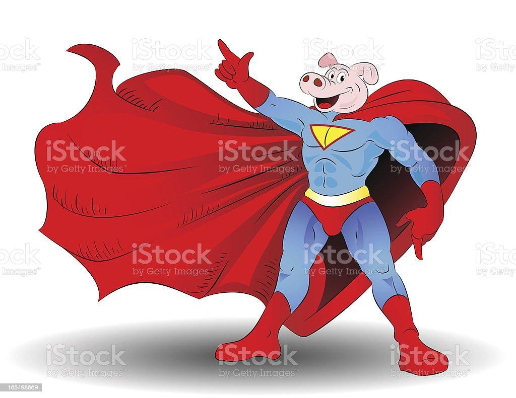 Super Pig royalty-free stock vector art