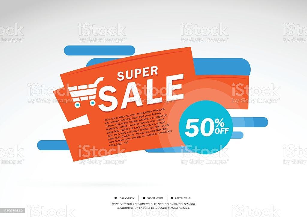 Super Sale and special offer. 50% off vector art illustration