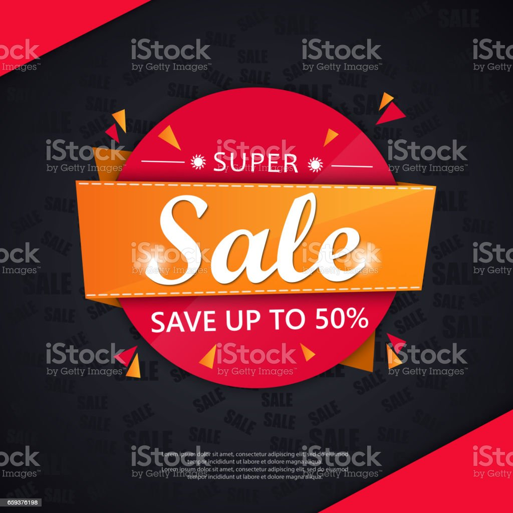 Super Sale and special offer. 50% off. vector art illustration