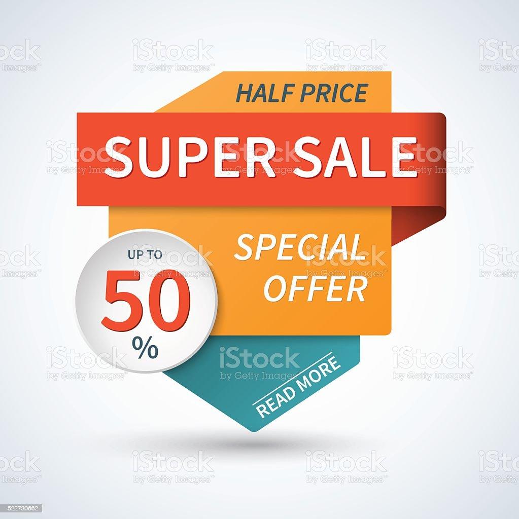Super sale and special offer banner. Half price. Vector background vector art illustration