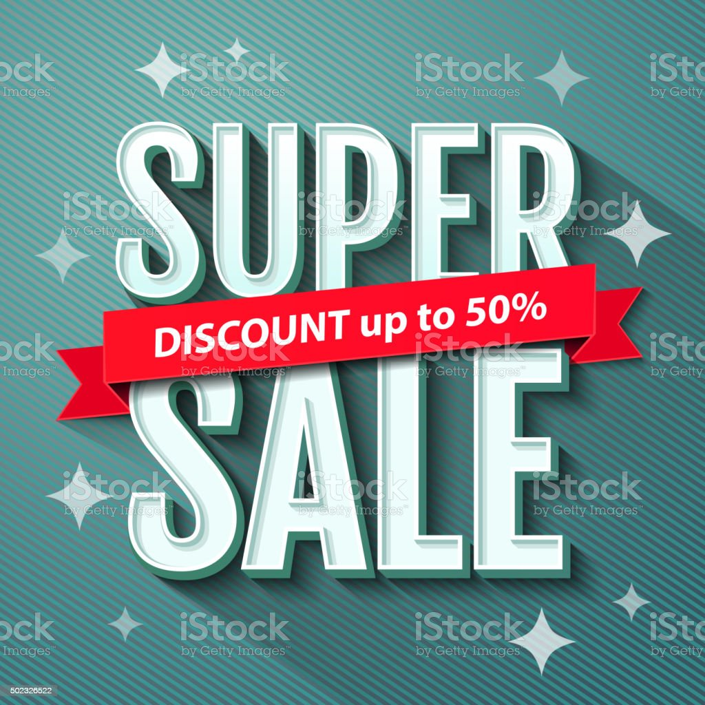 Super Sale inscription, banner design template. Sale poster vector art illustration