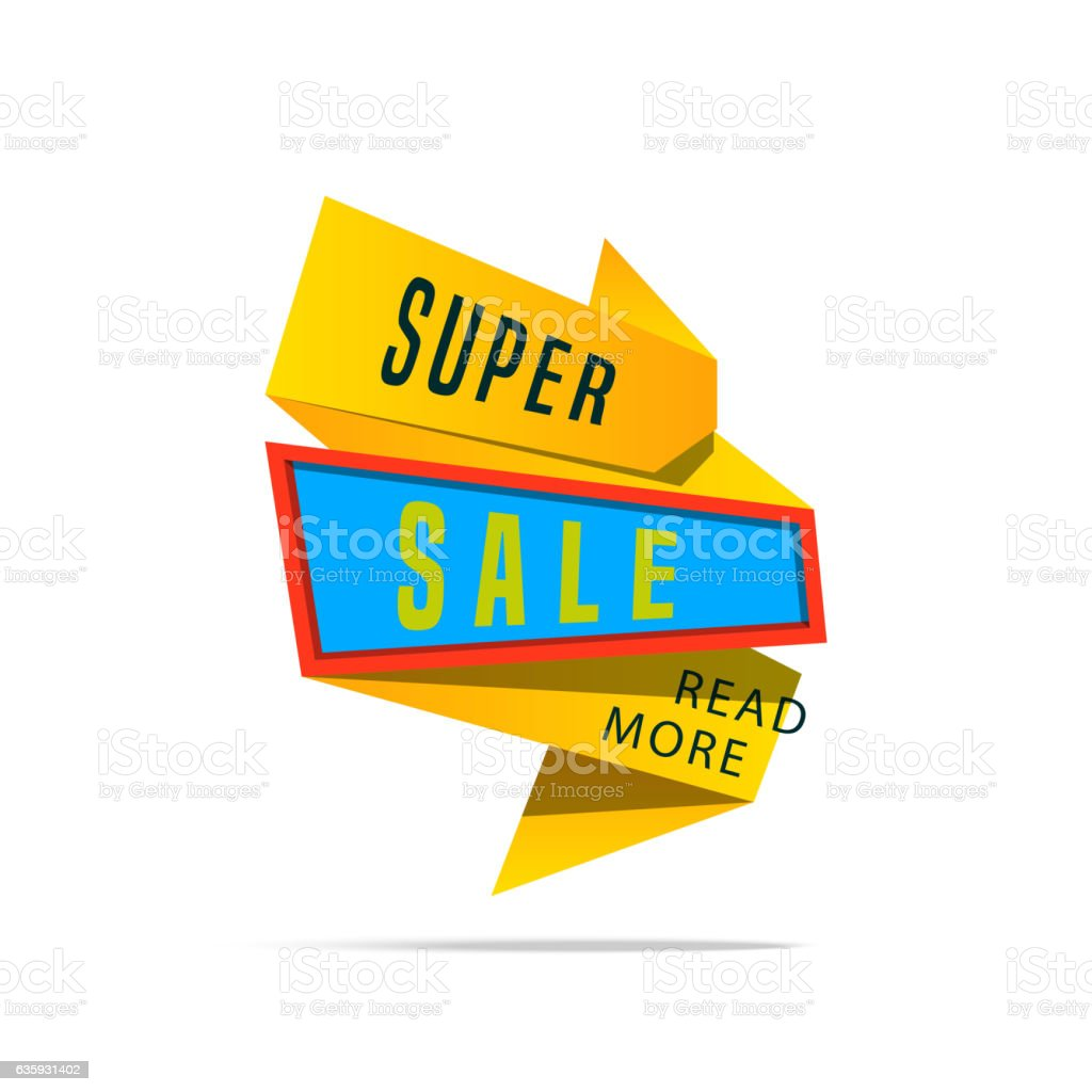 Super Sale shining banner on colorful background.  . Geometric design.   and vector art illustration