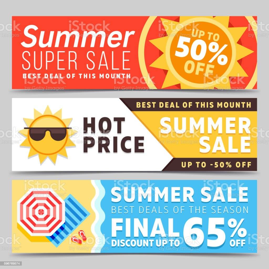 Super sale summer vector banners vector art illustration