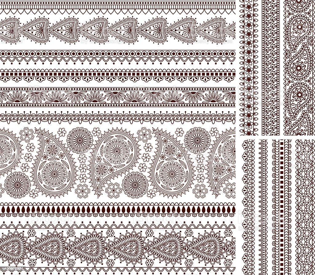 Super set of ornamental seamless borders in Indian style vector art illustration