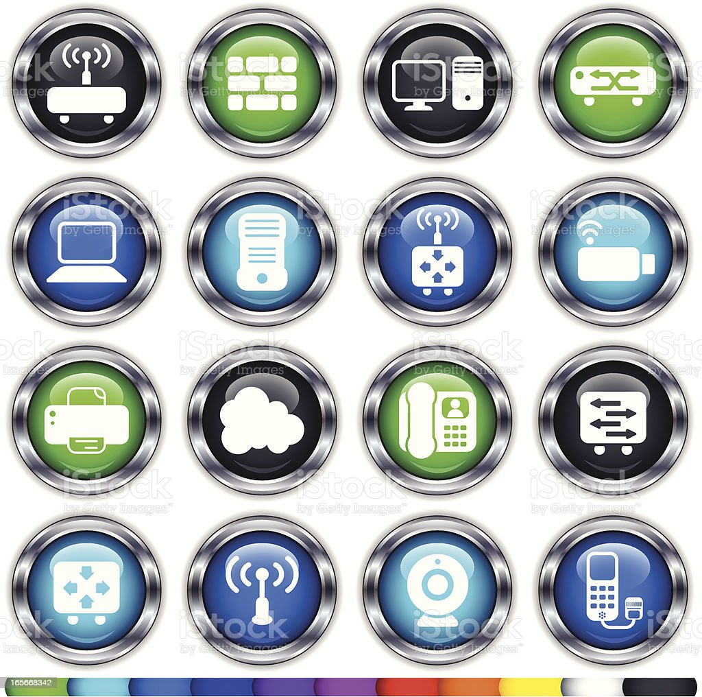 Super Shiny Round Network Devices and Components Multi-Colored royalty-free stock vector art