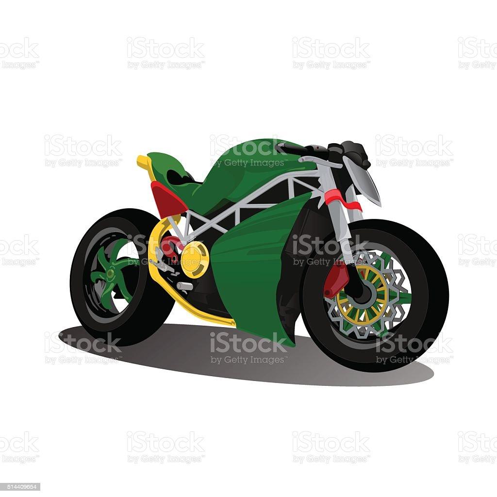 super sport extreme green bike motorcycle vector art illustration
