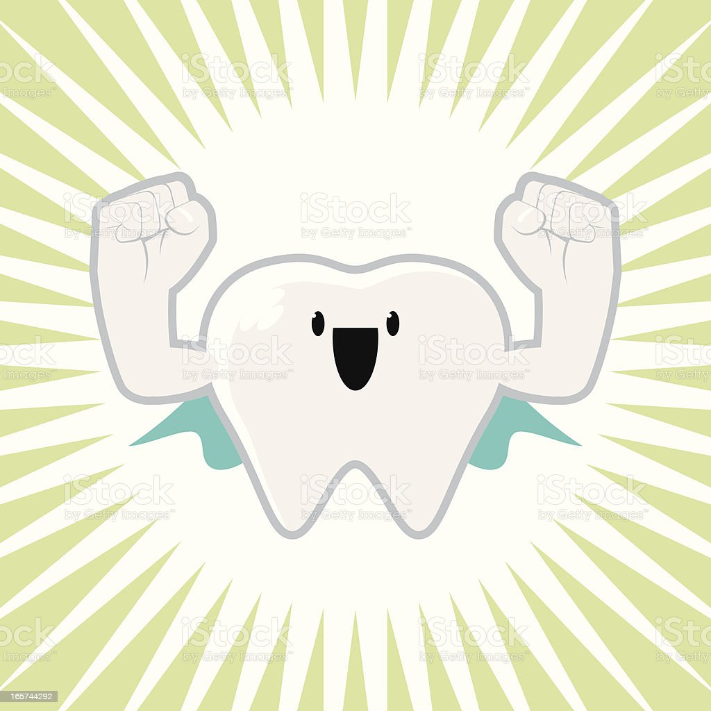 Super Strong Tooth Character vector art illustration