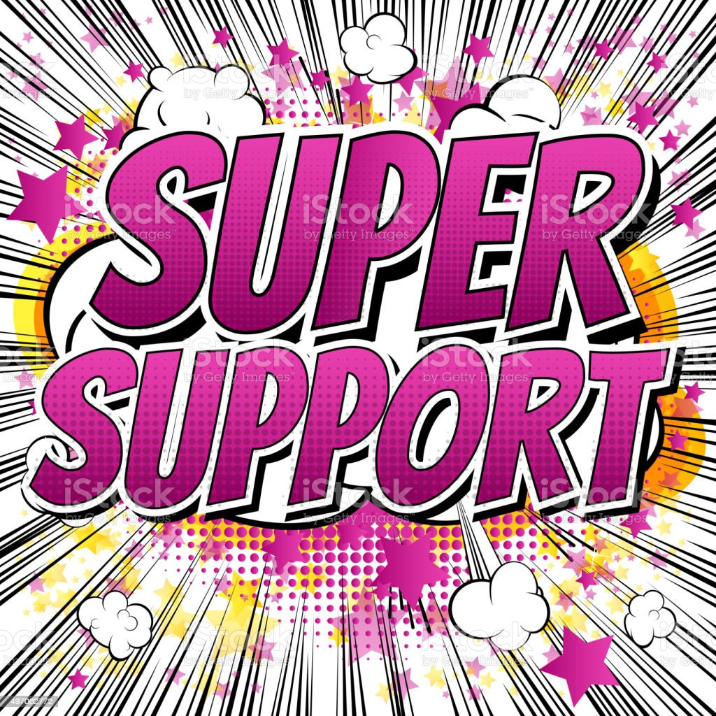 Super Support - Comic book style word. vector art illustration