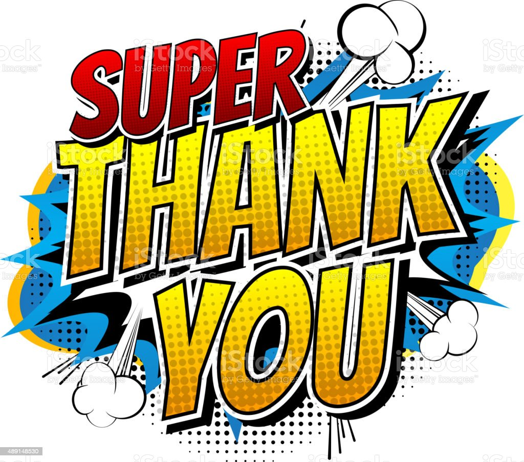 Super Thank You - Comic book style word. vector art illustration
