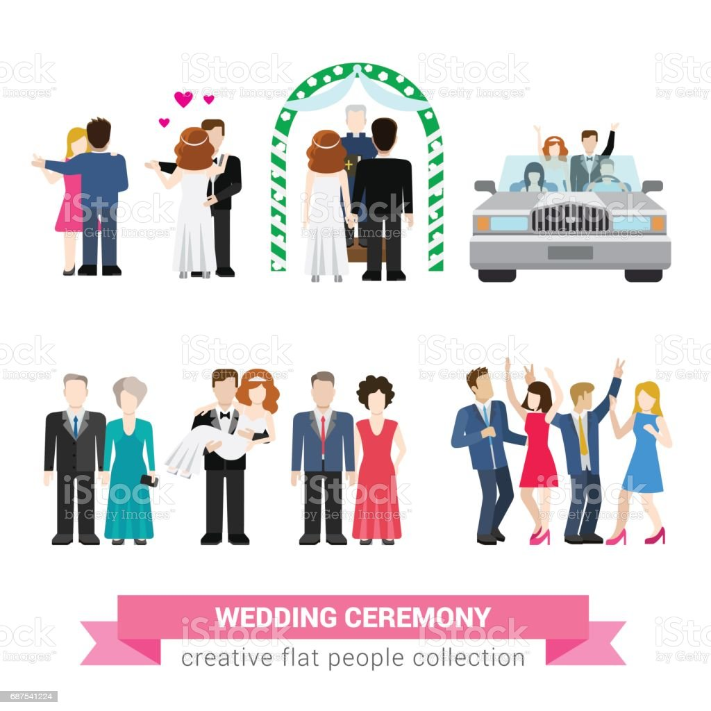 Super wedding ceremony marriage flat style infographic icon people set. Newlyweds wife husband bride groom dance guests groomsman bridesman usher honeymoon. Creative conceptual illustration collection vector art illustration