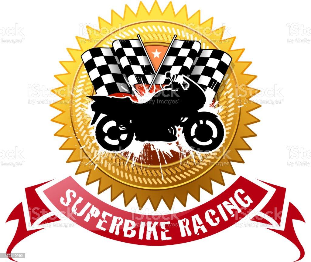 superbike shielding vector art illustration