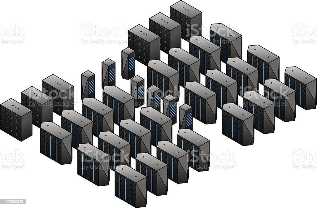Supercomputing Cluster vector art illustration