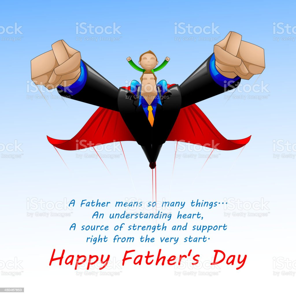 Superdad flying with Son vector art illustration