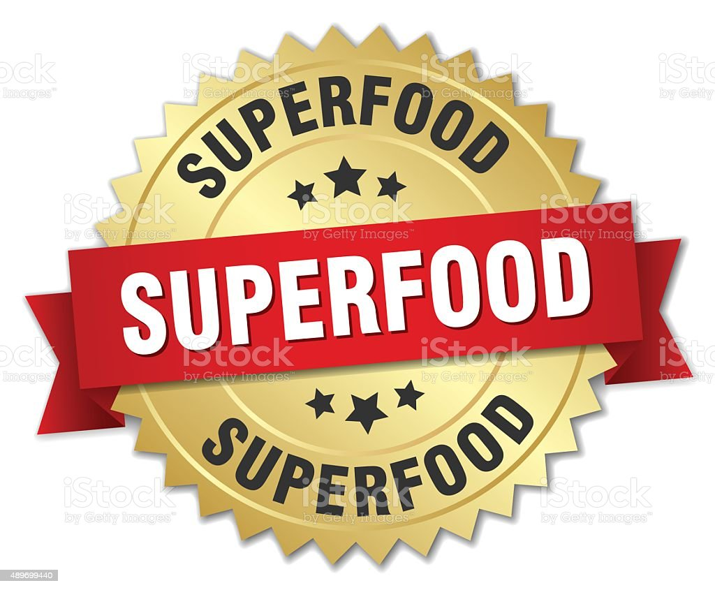 superfood 3d gold badge with red ribbon vector art illustration