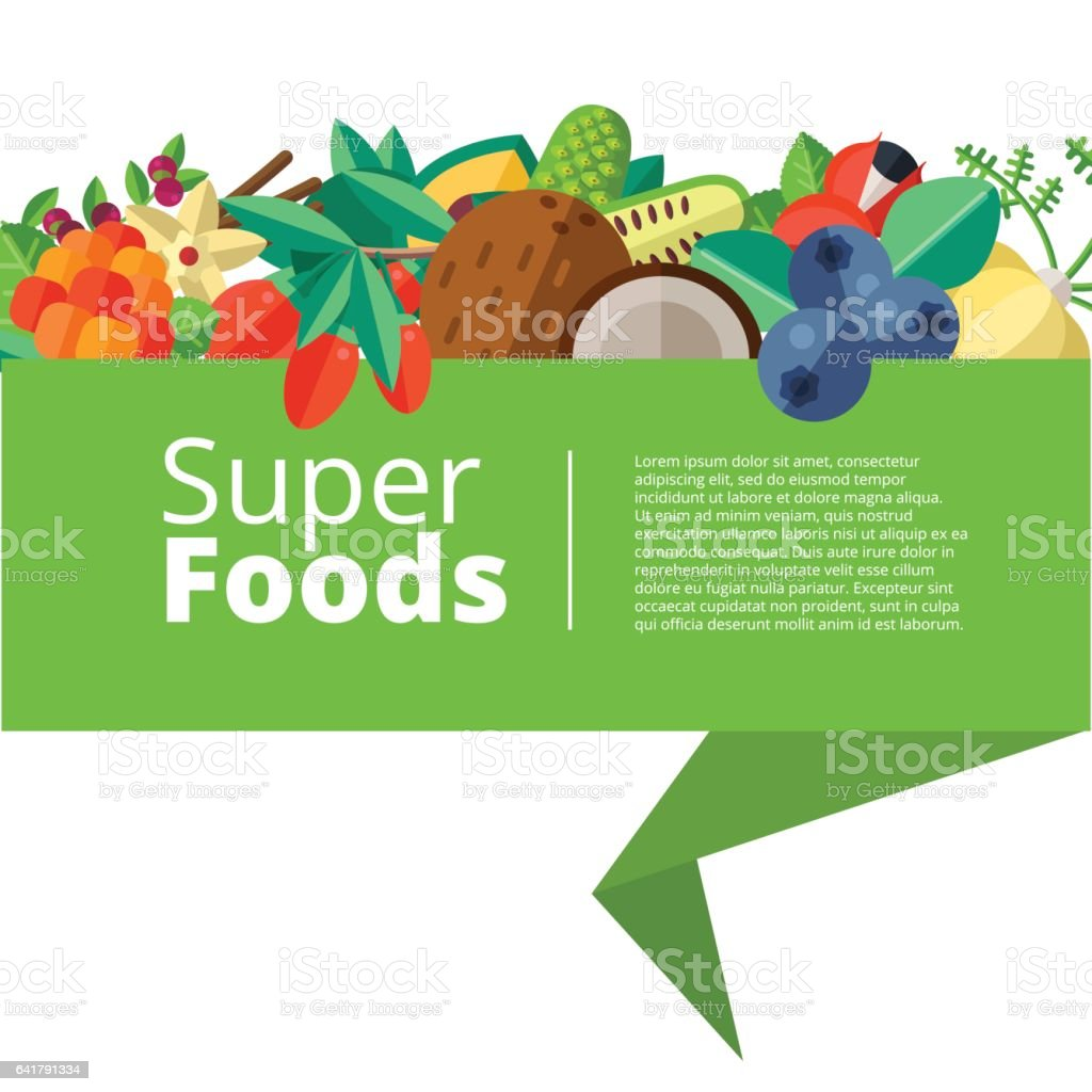 Superfood background with fruits, vegetables, berries, nuts and vector art illustration