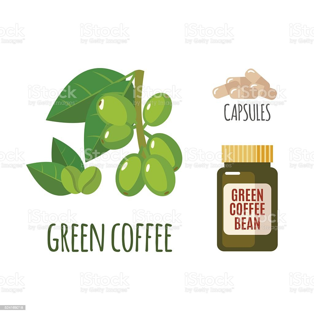 Superfood green coffee set in flat style. vector art illustration