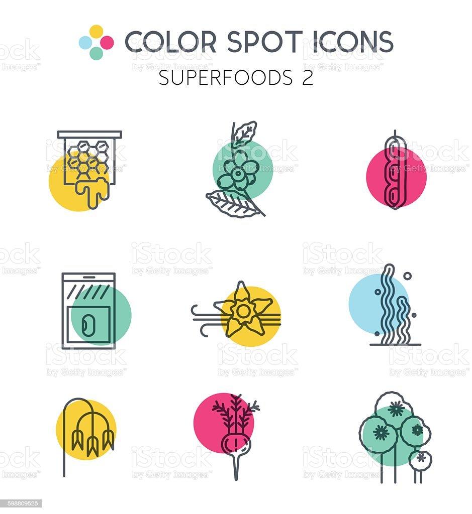 Superfoods line icons set 2. vector art illustration