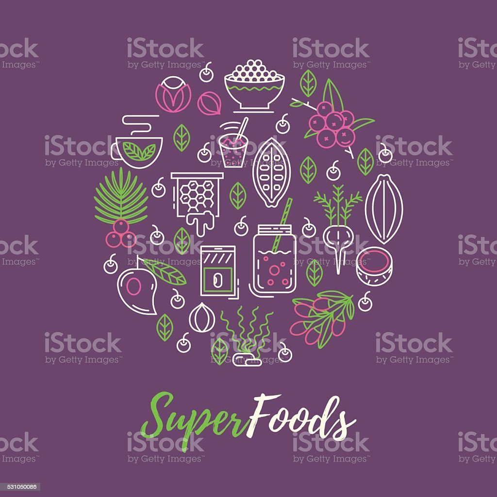 Superfoods line vector concept. vector art illustration