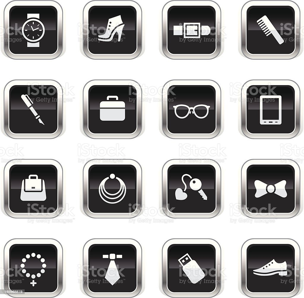 Supergloss Black Icons - Accessories royalty-free stock vector art
