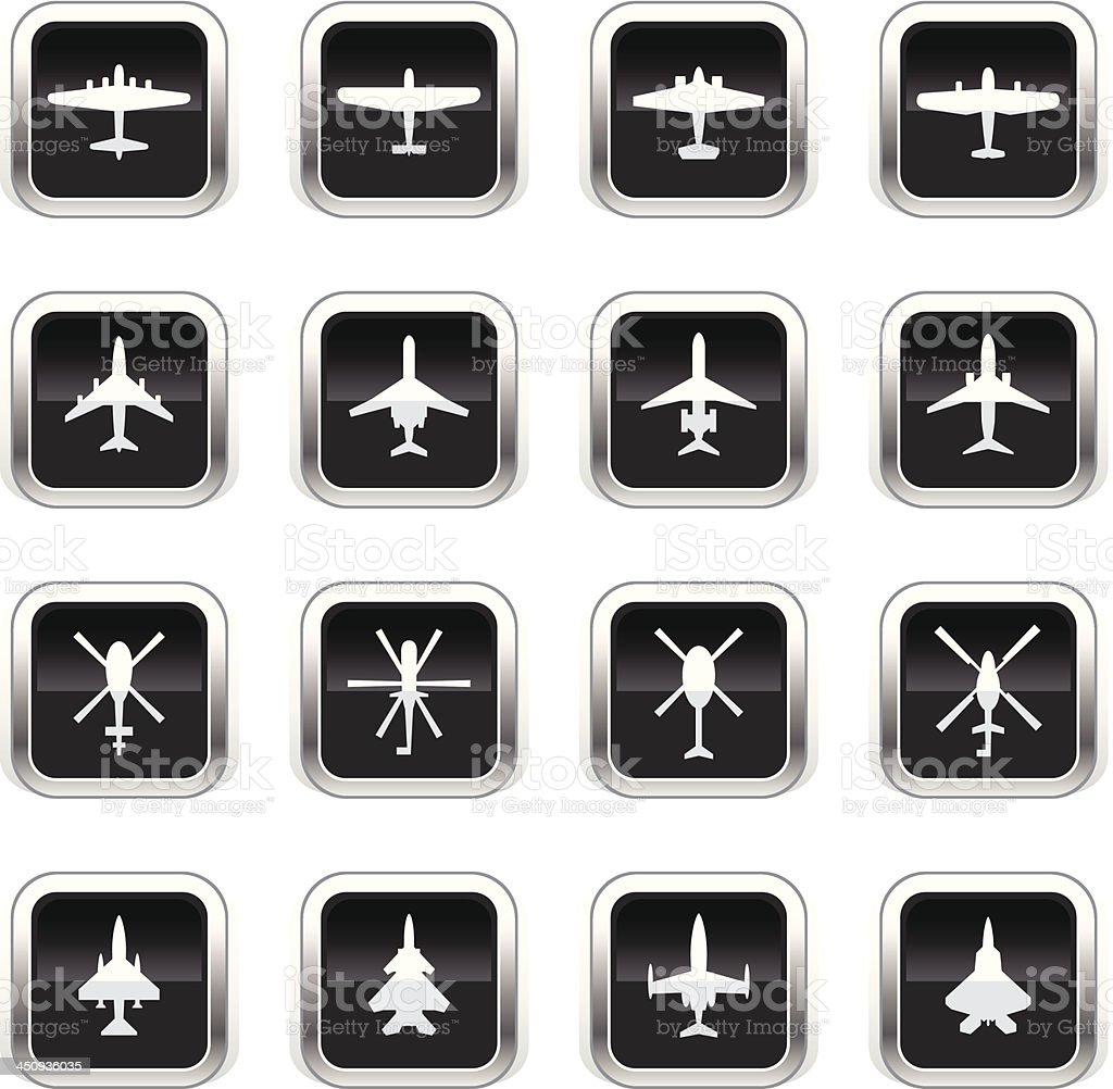 Supergloss Black Icons - Airplanes & Helicopters royalty-free stock vector art