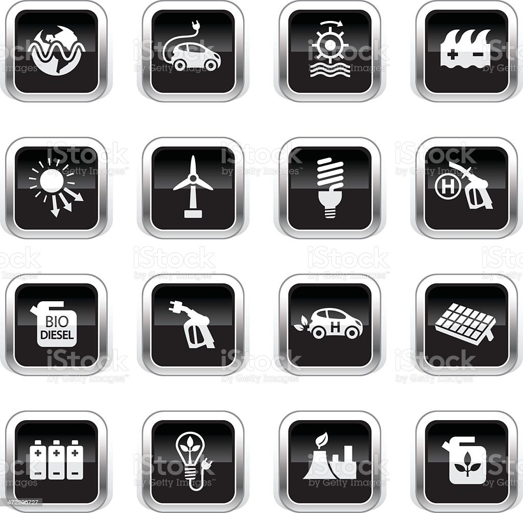 Supergloss Black Icons - Alternative Energy royalty-free stock vector art