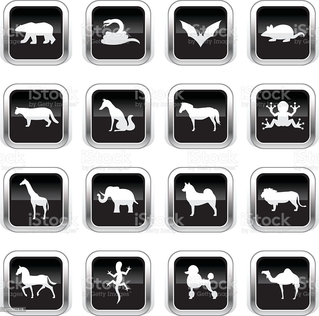 Supergloss Black Icons - Animals royalty-free stock vector art