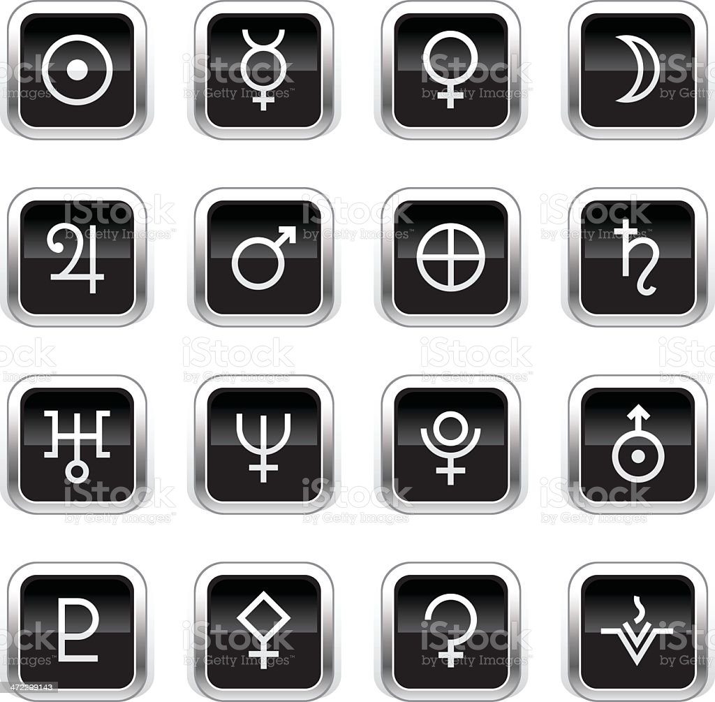 Supergloss Black Icons - Astrology Symbols royalty-free stock vector art